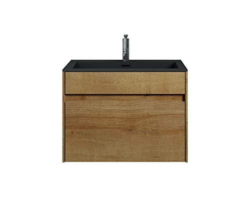 Badezimmer Badmöbel Set Ontario 60cm Bamboo mit Schwarz - Unterschrank Schrank Waschbecken Waschtisch