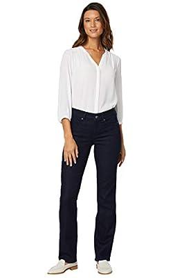 NYDJ Women's Misses Marilyn Straight Denim Jeans, Dark Enzyme, 14