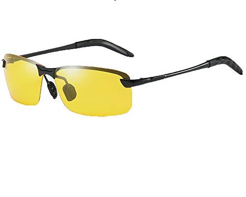 Runyue Uomo Occhiali da Sole Polarizzati Metà Telaio Al-Mg Metal Frame All'aperto Nero1 OneSize