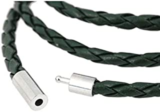 Men's Braided Black Leather Wrap Wristband Bracelet