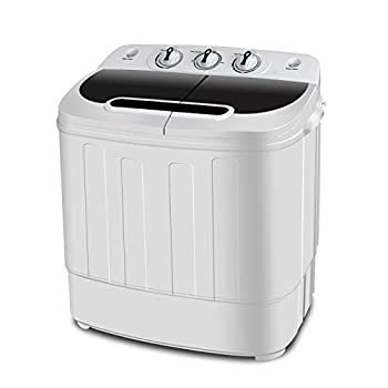 SUPER DEAL Portable Compact Mini Twin Tub Washing Machine w/Wash and Spin Cycle Built-in Gravity Drain 13lbs Capacity For Camping Apartments Dorms College Rooms RV's Delicates and more