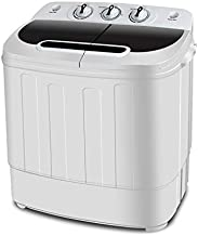 SUPER DEAL Portable Compact Mini Twin Tub Washing Machine w/Wash and Spin Cycle, Built-in Gravity Drain, 13lbs Capacity For Camping, Apartments, Dorms, College Rooms, RV's, Delicates and more