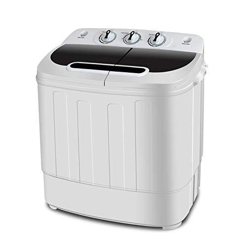 SUPER DEAL Portable Compact Mini Twin Tub Washing Machine w/Wash and Spin Cycle, Built-in Gravity Drain, 13lbs Capacity For Camping, Apartments, Dorms, College Rooms, RVs, Delicates and more
