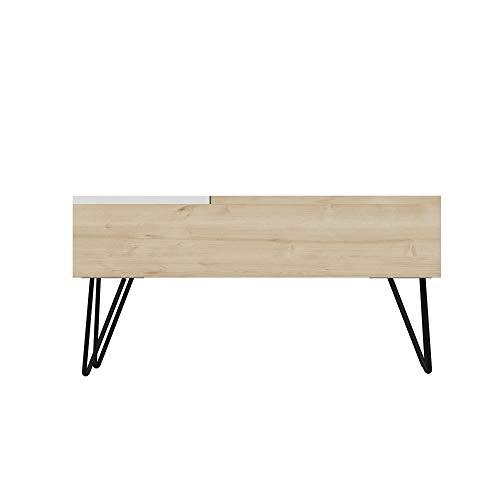 Homemania - Mesa de café, Tablero de partículas melaminico, Metal, Roble, Blanco, 80 x 50 x 38,6 cm