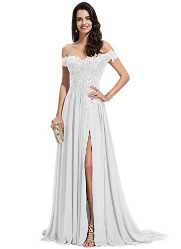 Women's Off The Shoulder Chiffon Boho Wedding Dress with Slit Long Lace Bodice Formal Evening Gowns White Size 2