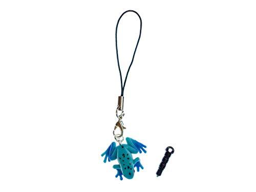 Miniblings Rana Veneno de Rana telefono movil Colgante Colgante de joyería Hecha a Mano Azul Frösche- joyería de Moda Colgante I Llaveros