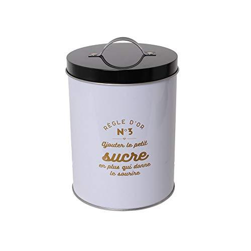 Totally Addict KA2609 Boite en Métal Ronde avec Poignée Coloris Aléatoire, Vert, Noir, Blanc, 10,9x10,9x15,5 cm