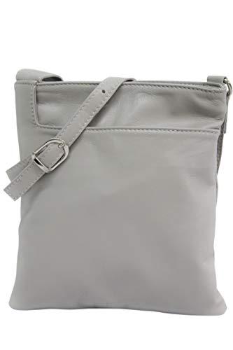 AMBRA Moda Italienische Ledertasche Schultertasche Crossover Umhängetasche Nappaleder Damen Kleine Tasche NL611 (Hellgrau)