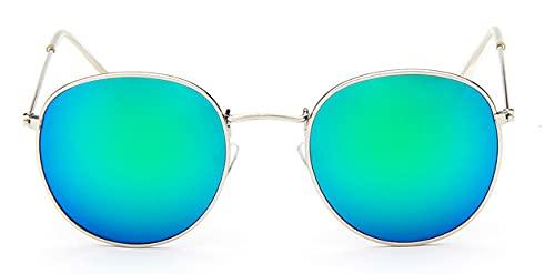 LOPIXUO Gafas de sol Gafas de sol ovaladas para mujer, retro, con lentes transparentes, gafas de sol redondas para mujer, color plateado v verde