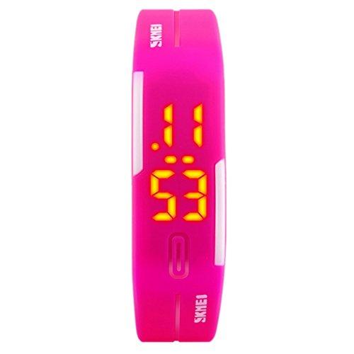 SKMEI - Reloj Digital Deportivo Resistente al Agua con LED Banda de PU para Chicas Estudiantes Niñas - Rosa