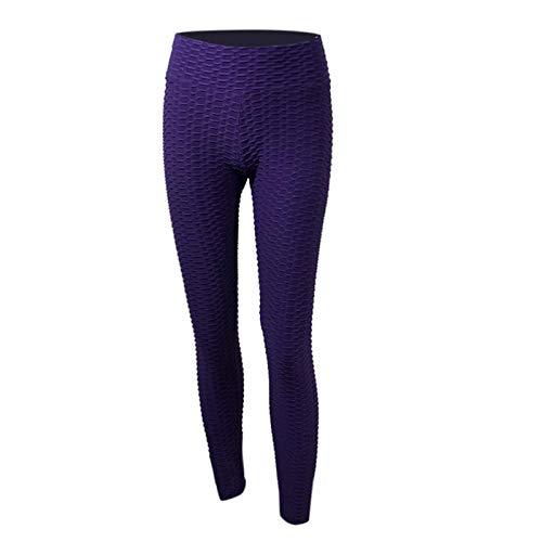 Alavo Hohe Taille Enge Yoga-Fitnesshose, Sportlauf-Leggings, Casual Fitness-Kleidung,Lila,XS