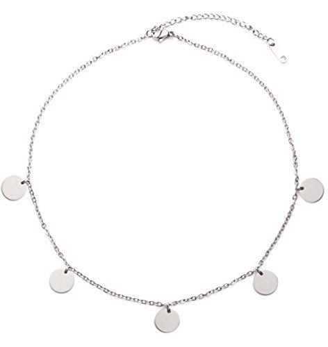 Happiness Boutique Damen Kette mit Plättchen in Silberfarbe   Halskette Runde Anhänger Edelstahlschmuck Frauen