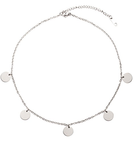 Happiness Boutique Damen Kette mit Plättchen in Silberfarbe | Halskette Runde Anhänger Edelstahlschmuck Frauen