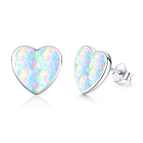 Silver Earrings Heart Opal Earrings for Girls Kids Sterling Silver Delightful Love Heart Stud Earrings Gift Set (Silver)