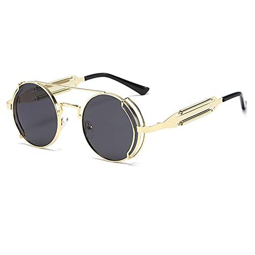 Gafas De Sol Nuevas Gafas De Sol Redondas Steampunk para Hombre, Gafas De Sol con Montura Metálica, Gafas De Personalidad con Espejo para Mujer, Uv400 Dorado-Negro