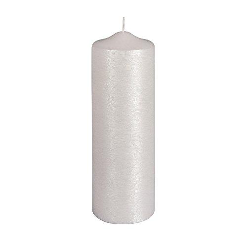31592102 Stumpenkerze perlmutt, 8cm ø, weiß, 25cm, gelackt, geriffelt