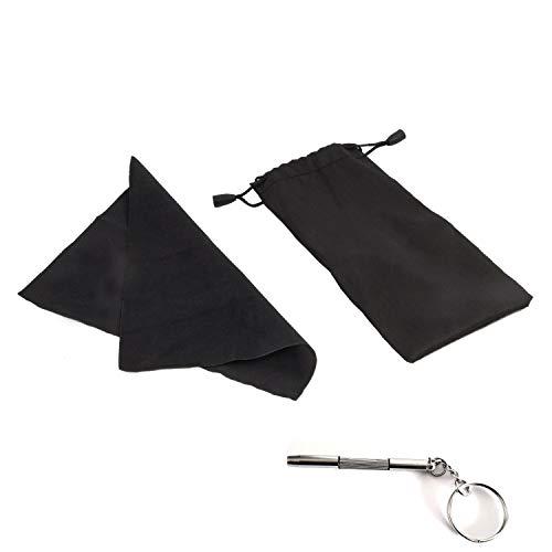 Étui de Rangement Noir en Microfibre [Étui à Lunette] - Parfait pour Protéger, Transporter et Limiter la Perte de Vos Lunettes et Autre Objet du Quotidien - Chiffon Microfibre + Mini Tournevis Offert