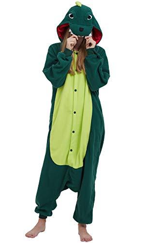 Jumpsuit Onesie Tier Karton Fasching Halloween Kostüm Sleepsuit Cosplay Overall Pyjama Schlafanzug Erwachsene Unisex Lounge, Grün, Erwachsene Größe XL -für Höhe 178-187CM