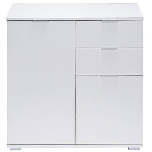 Deuba Kommode Sideboard Alba mit 2 Schubladen & 2 Türen 71 x 74 x 35 cm Anrichte Beistellschrank Holz, Weiß
