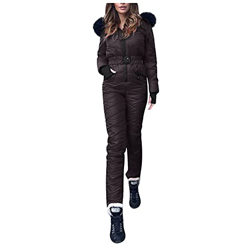 Leisure Ski Wear Jumpsuit for Women Zipper Thick Jacket Hooded Winter Warm Outdoor Sports Fashion One-piece Outwear with Pockets(Black,X-Large)