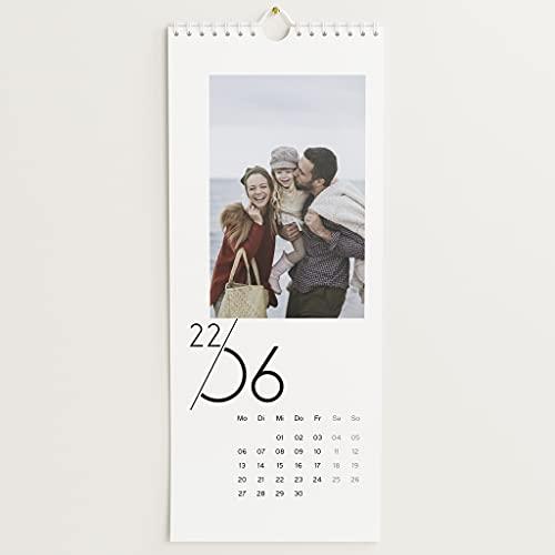 sendmoments Fotokalender 2022, Jahreskalender, Wandkalender mit persönlichen Bildern, Kalender für Digitale Fotos, Spiralbindung, Hochformat 148x360, optional mit Veredelung
