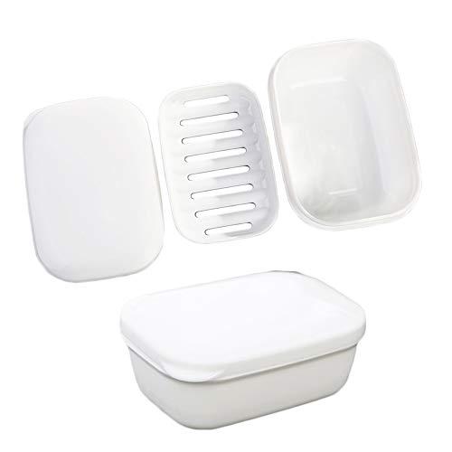inherited 2 pcs Seifenschale, Seifenschalen Box mit Abdeckung, aus Kunststoff, für Waschtisch und Spüle, für Home Reisen Outdoor Camping-Weiß (10cm*6.5cm*4.5cm