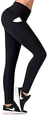 IUGA Fleece Lined Yoga Pants with Pockets for Women, High Waisted Thermal Leggings with Pockets