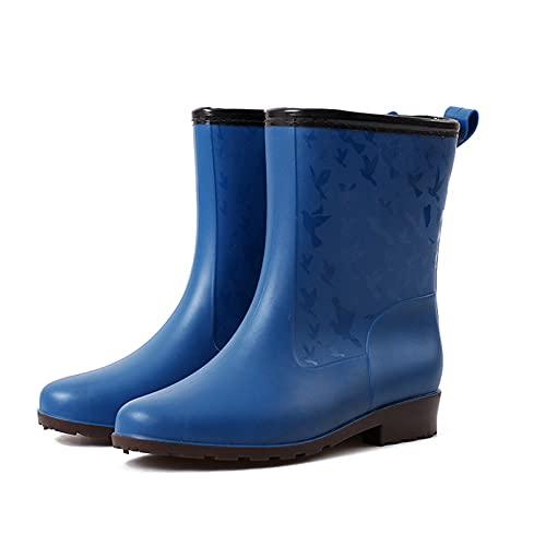 Dustpro Femme Mode Bottes De Pluie Plates Antidérapantes Mi-Mollet sans Lacet Bottes De Pluie Pointues Eau en Caoutchouc Chaussures pour Femme Travail étanche Blue 38
