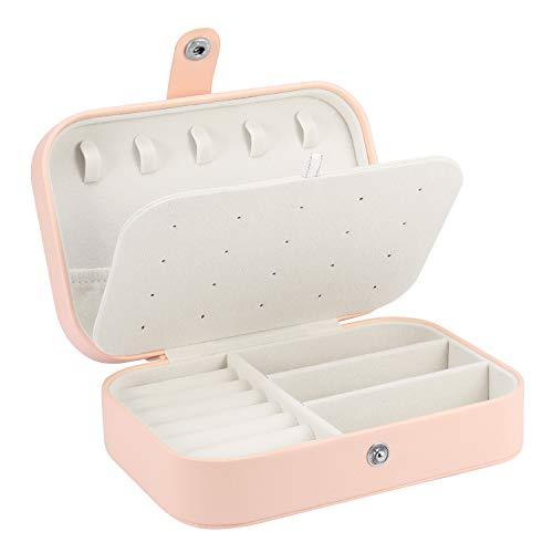 PAMIYO Schmuckkästchen Mädchen, Schmuck Aufbewahrungsbox Schmuckkoffer Klein, Kleines Reise Schmuckbox (Pink)
