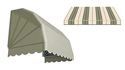 Generico Tenda da Sole Modello CAPPOTTINA a 4 Raggi Realizzata in Tessuto Acrilico Tempotest Parà, Struttura Bianca (150 x 80 cm) (Verde 2)
