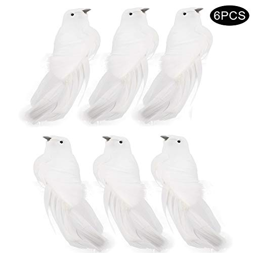 Skyoo 6 Stks Kunstmatige Witte Vogel Clip op Kerstmis Ornamenten, DIY Decoraties voor bruiloft, Kerstboom Toppers