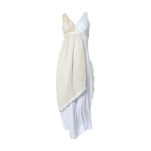KESYOO1PC Vestido de Halloween Mujer griega Paño de poliéster blanco beige Vestido de fiesta delicado suave (Mujer griega - Talla M)
