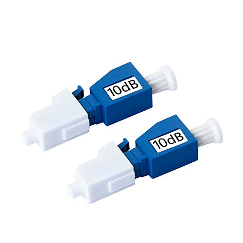 LC/UPC Singlemode Fiber Optic Attenuator 10dB, 2 Pack, Male/Female, in-Line Attenuator, Single-mode Fixed
