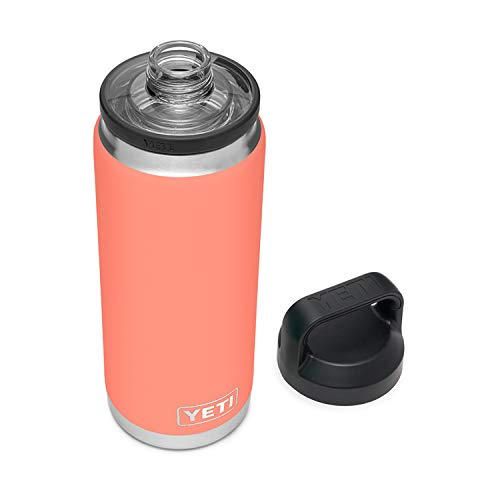 YETI Rambler 26 oz Bottle, Vacuum Insulated, Stainless Steel with Chug Cap, Coral