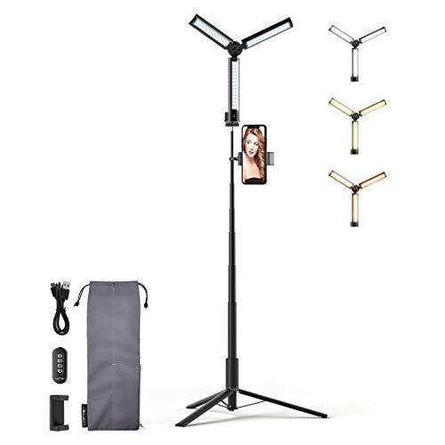 LOFTer LED Ringlicht Videolicht mit Stativ (180CM) Set, Multifunktionales 14 Zoll USB Wiederaufladbar Selfie Ringleuchte, 3 Farbe und 5 Helligkeitsstufen Licht für Live-Streaming Fotografie Make-up