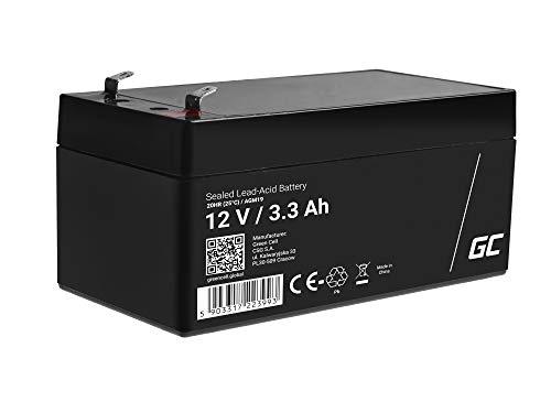 Green Cell Recambio de Batería Gel AGM 12V 3.3Ah Rechargeable Pila Sellada de Plomo ácido batería sin Mantenimiento Batería de Reemplazo para Sistemas SAI Echosondas Vehículos para niños Tractor