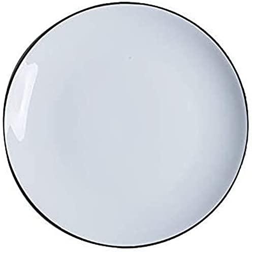 Juego de Platos, Lado Negro Plato de cerámica Pasca de Desayuno Placa Simple Cubertery Set Sopa de Plato Poco Profundo Placa de Porcelana Placa de Porcelana 17.7x17.7x3.2cm, Euro Ceramica