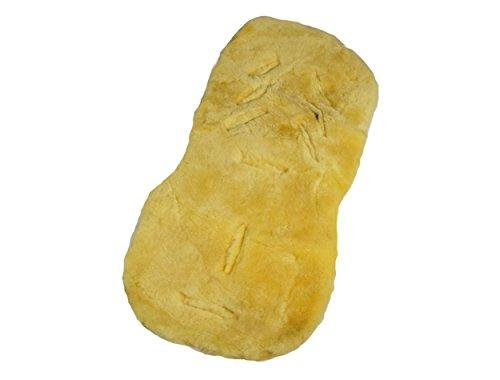 Naturasan Tapis en laine de mouton – Peau d'agneau siège coussin/assise, une tapis universelle pour poussette/buggy, la peau d'agneau idéale coussin pour Bébé, 74 x 35 cm, beige, liner -02