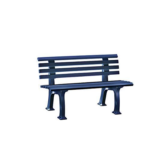 Parkbank aus Kunststoff - mit 9 Leisten - Breite 1200 mm, stahlblau - Sitzbank Gartenbank Ruhebank Bank für Außenbereich UV- und witterungsbeständig PVC Bank