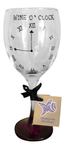 Nouveauté Horloge de vin O '340 ml Verre à vin peint à la main par Memories-like-these Verre à vin Inscription Royaume-Uni