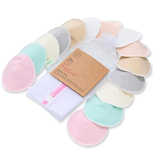 """Organic Bamboo Nursing Breast Pads - 14 Washable Pads + Wash Bag - Breastfeeding Nipple Pad for Maternity - Reusable Nipplecovers for Breast Feeding (Pastel Touch Lite, Large 4.8"""")"""