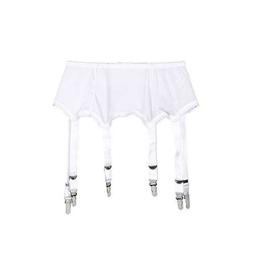 Frecoccialo Women\'s Suspender Stockings Transparente sexy Spitze 6 Strap Garter Suspender Belt for Stockings, 1-weiß,  S