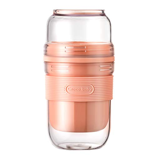 Portable Personal Size Blender USB Rechargeable Small Fruit Juicer Mixer Baby Food Maker Supplement Machine Fit Travel Office Outdoor Double Cup Mini Cute Blender Pink