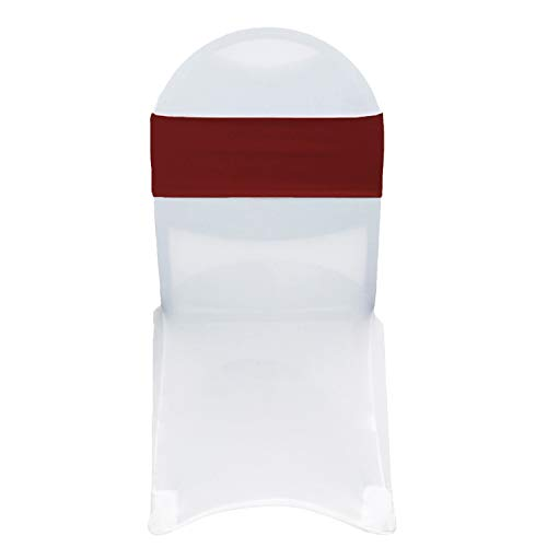 Your Chair Covers - Stretch Spandex Chair Bands - Burgundy (Pack of 10), Universal Elastic Chair Cover Bands for Banquet, Party, Hotel Event Decorations