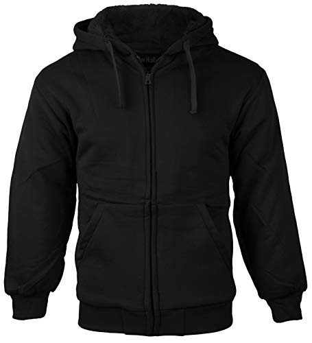 vkwear Boys Kids Athletic Soft Sherpa Lined Fleece Zip Up Hoodie Sweater Jacket (Medium (10-12), Black)