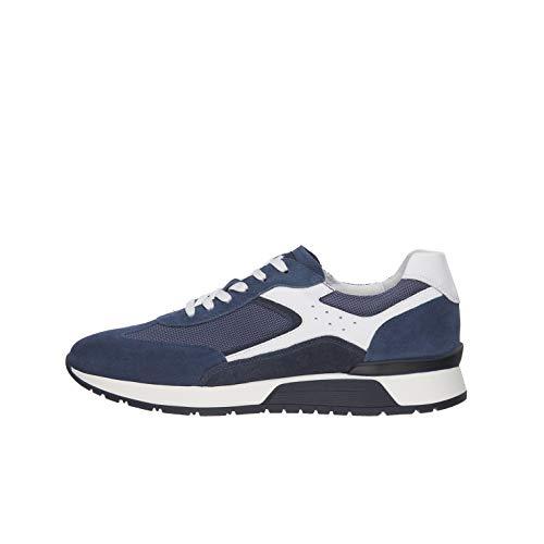 Nero Giardini E001483U Sneakers Uomo in Pelle, Camoscio E Tela - Acqua 43 EU