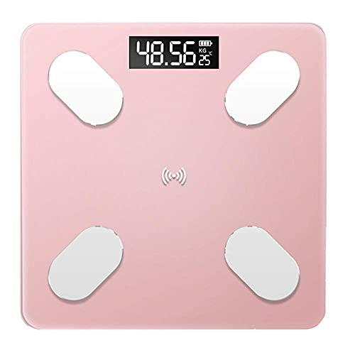 PYROJEWEL Con un Peso báscula de baño de la Escala, el Vidrio Inteligente del hogar del Peso de Balance electrónica Digital, Pantalla LCD MAX 180 kg, Negro