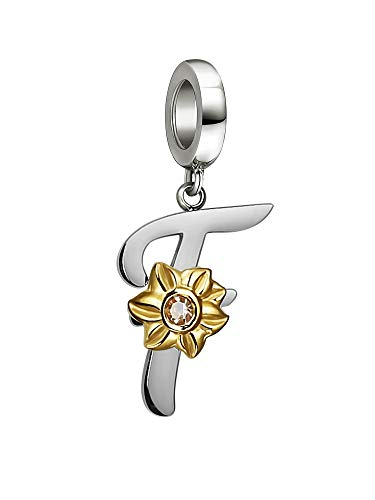 Shining Charm Dangle Initial Letter Charms F Alphabet Beads for Bracelets Sunflower Jewellery   Gifts for Best Friend Friendship Charm