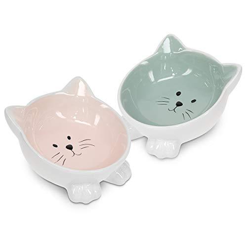 Navaris Futternapf Set 2-teilig für Katzen - 2X Keramik Napf rutschfest - Fressnapf Katzennapf spülmaschinenfest - Wasser Nassfutter Trockenfutter