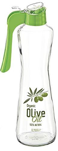 Sarina Dispensador de aceite, vinagre y aceitera, recipiente de cristal para botella de aceite de oliva, antigoteo y apto para lavavajillas (750 ml)